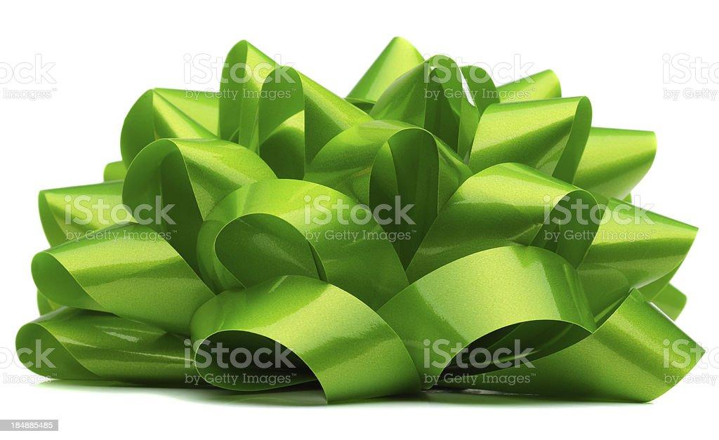 Green Bow On White stock photo