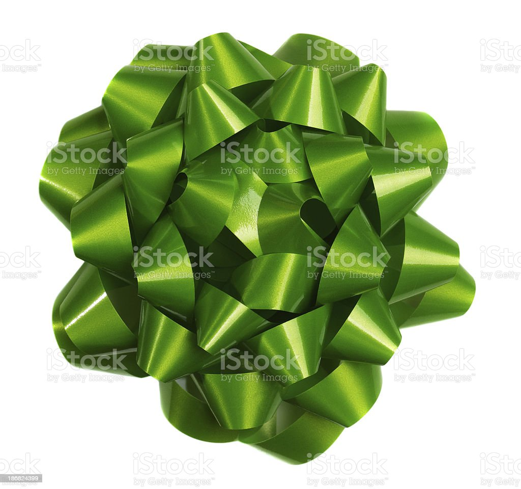 Green Bow On White royalty-free stock photo