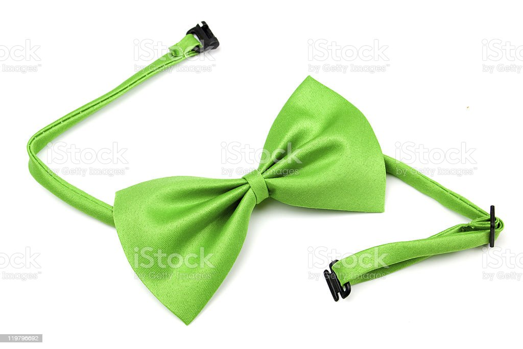 Green bow tie isolated on white stock photo