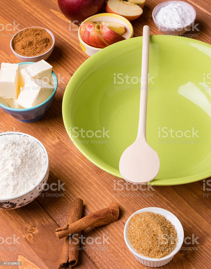 green bowl with ingredients stock photo