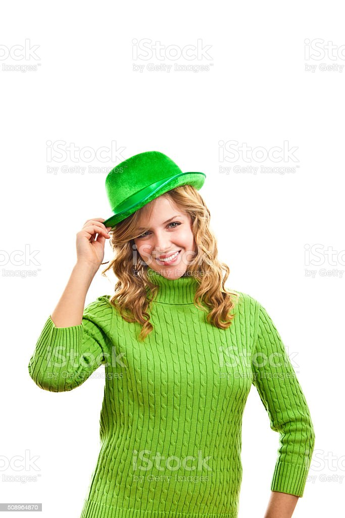 Green Bowler Hat Girl for St. Patrick's Day stock photo