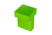 Green boxes stacked or green paper package box isolated