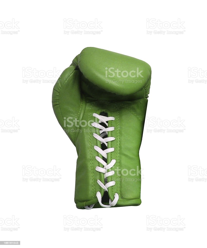 Green boxing glove on a white background close up royalty-free stock photo