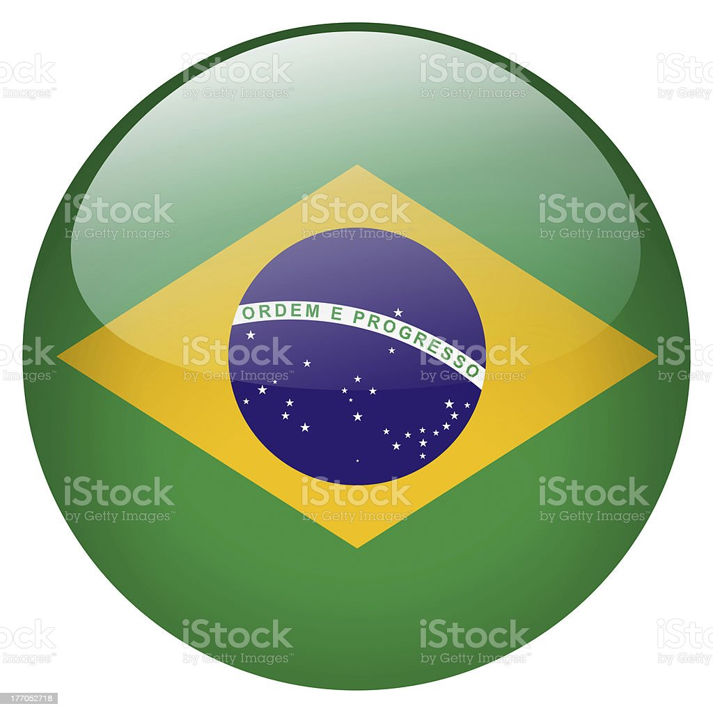 Green Brazilian button with yellow triangle and blue circle stock photo
