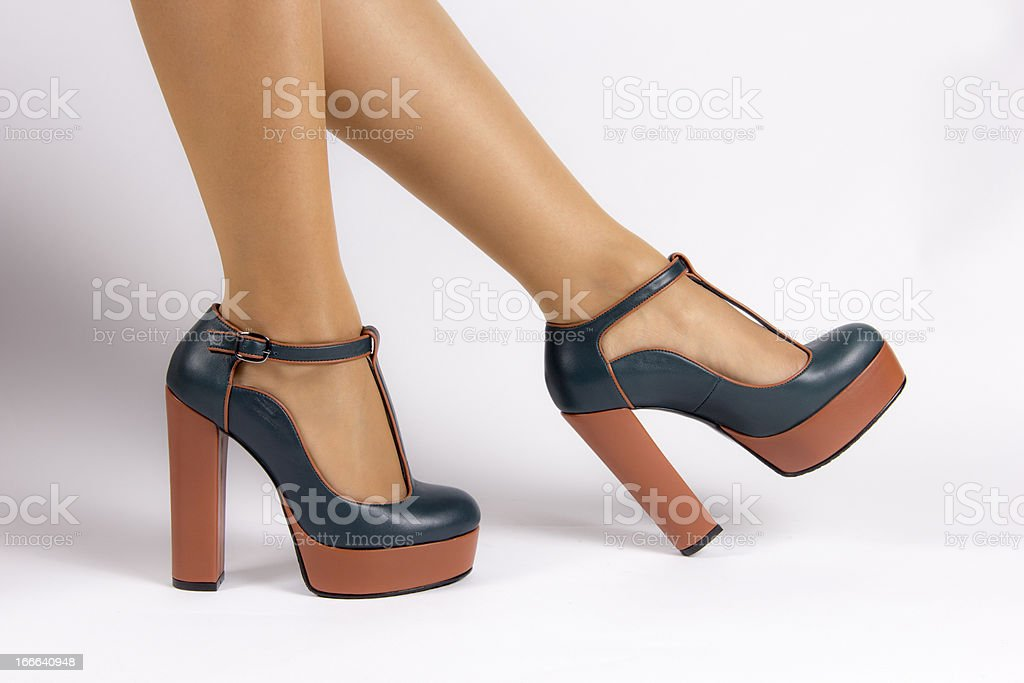 Green brown high-heeled shoes royalty-free stock photo