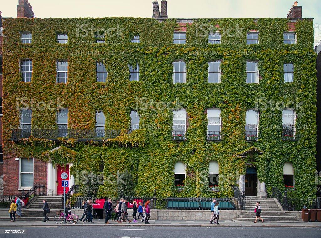 Green building facade on St. Stephens Green, Dublin stock photo