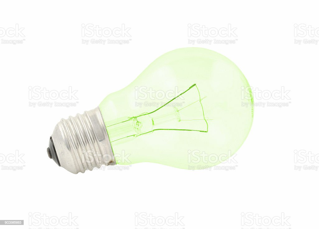 green bulb on pure white background royalty-free stock photo