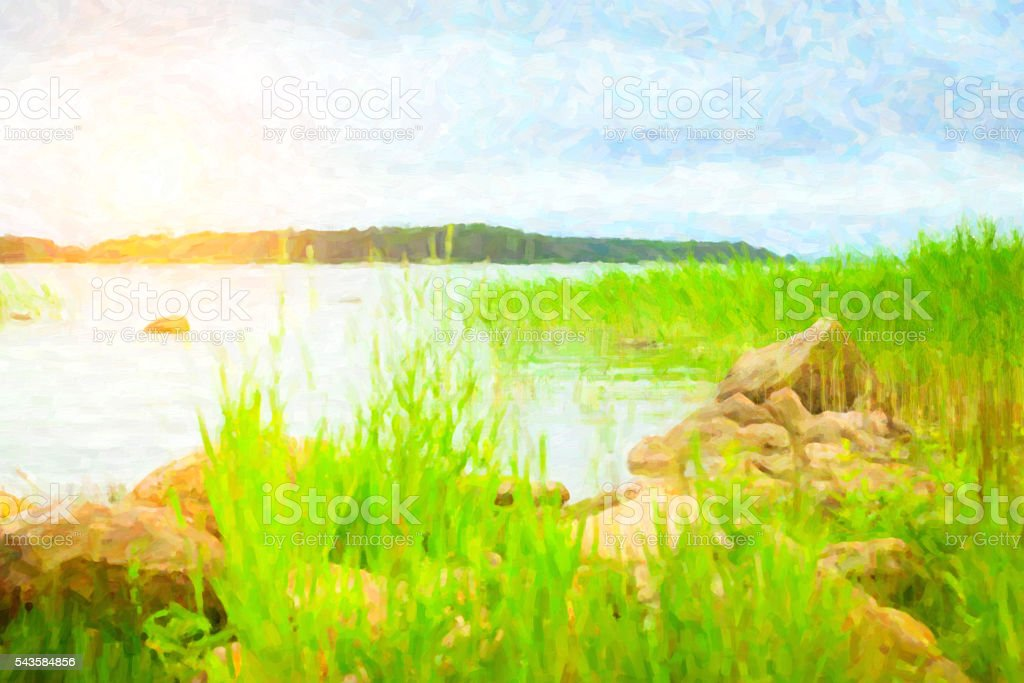 Green bulrush in a Bay of Finnish Gulf. camping, Suomi stock photo