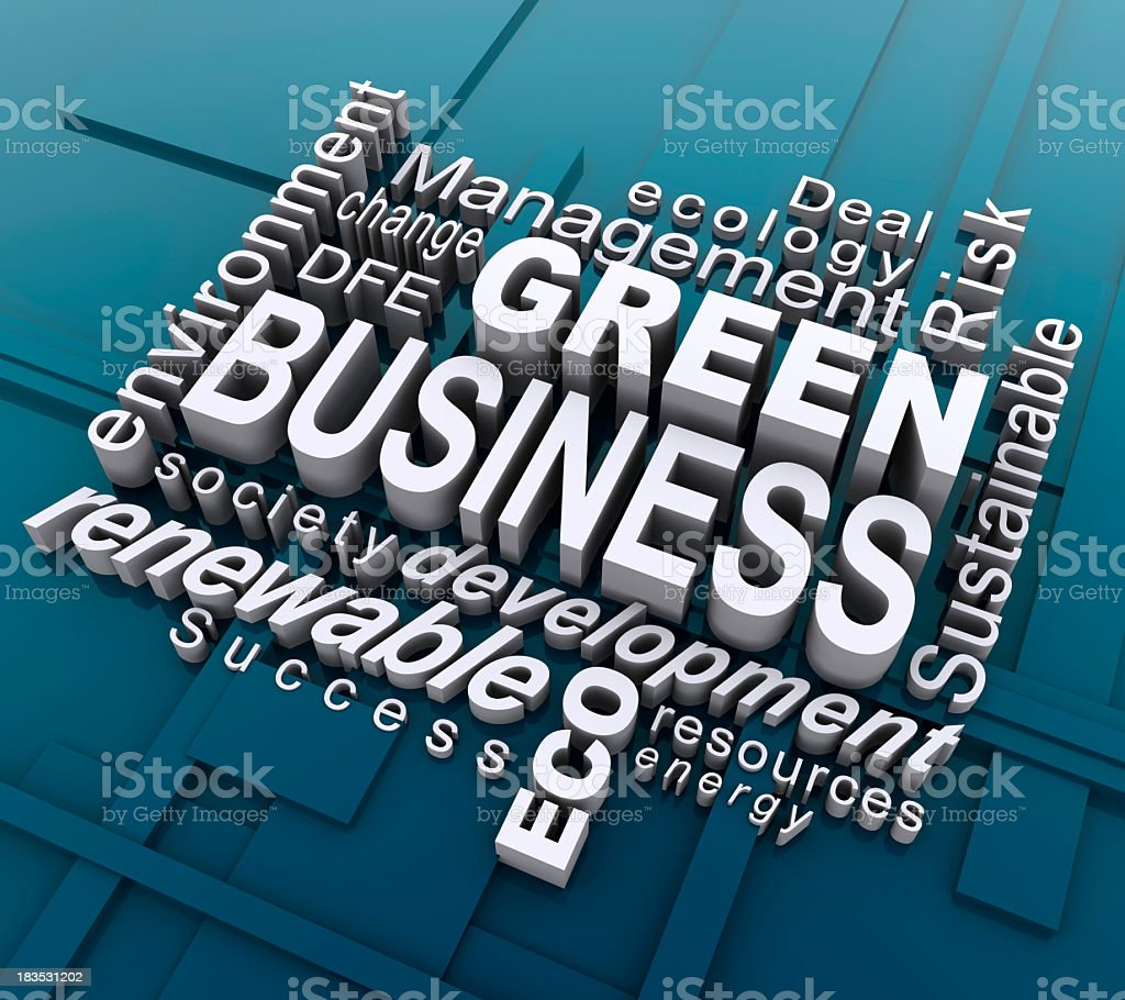Green business graphic made out of different words royalty-free stock photo