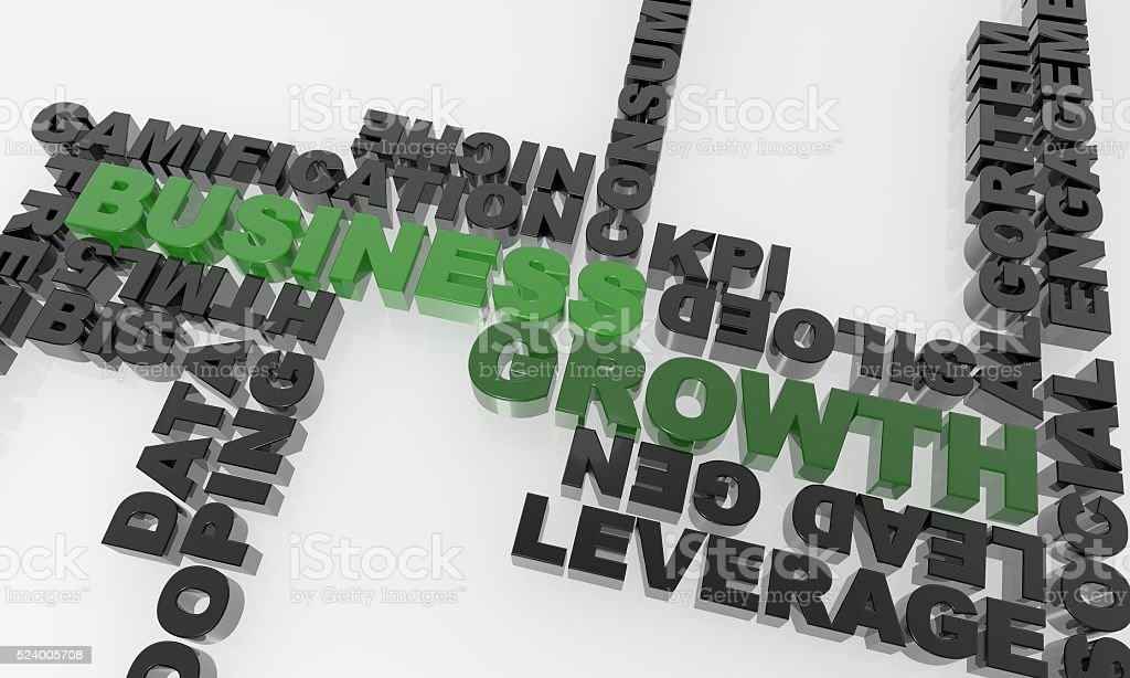 green business growth in a text sea - XXXL stock photo