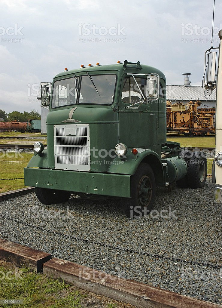 Green Cab of old Tracker Trailer royalty-free stock photo