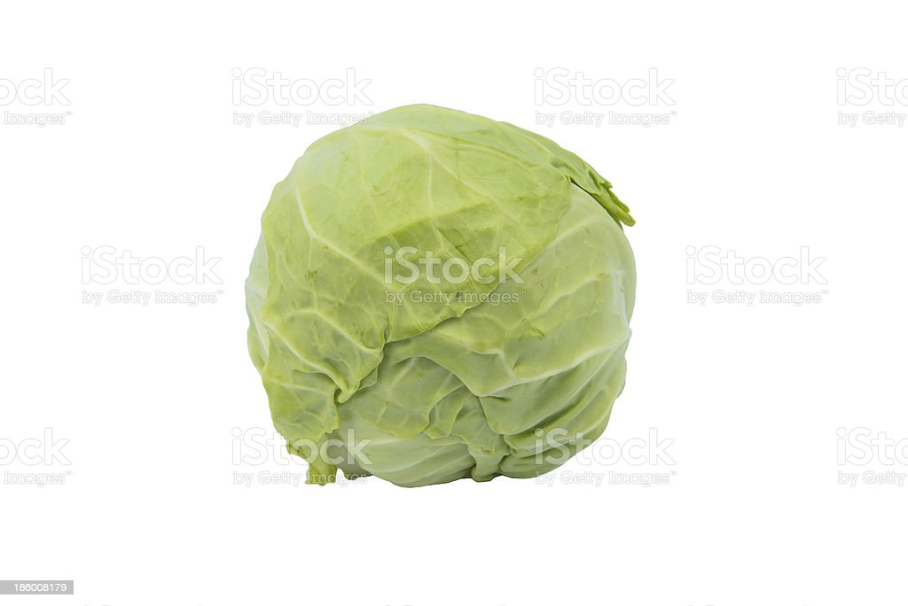 Green cabbage isolated on white background royalty-free stock photo