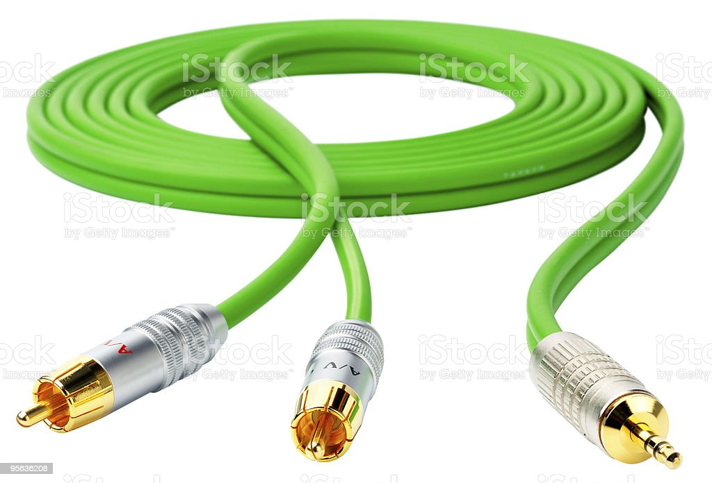 Green cable on white stock photo
