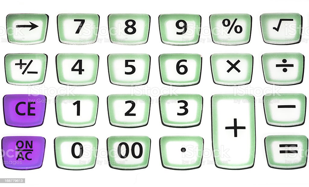 green calcultor button close up royalty-free stock photo