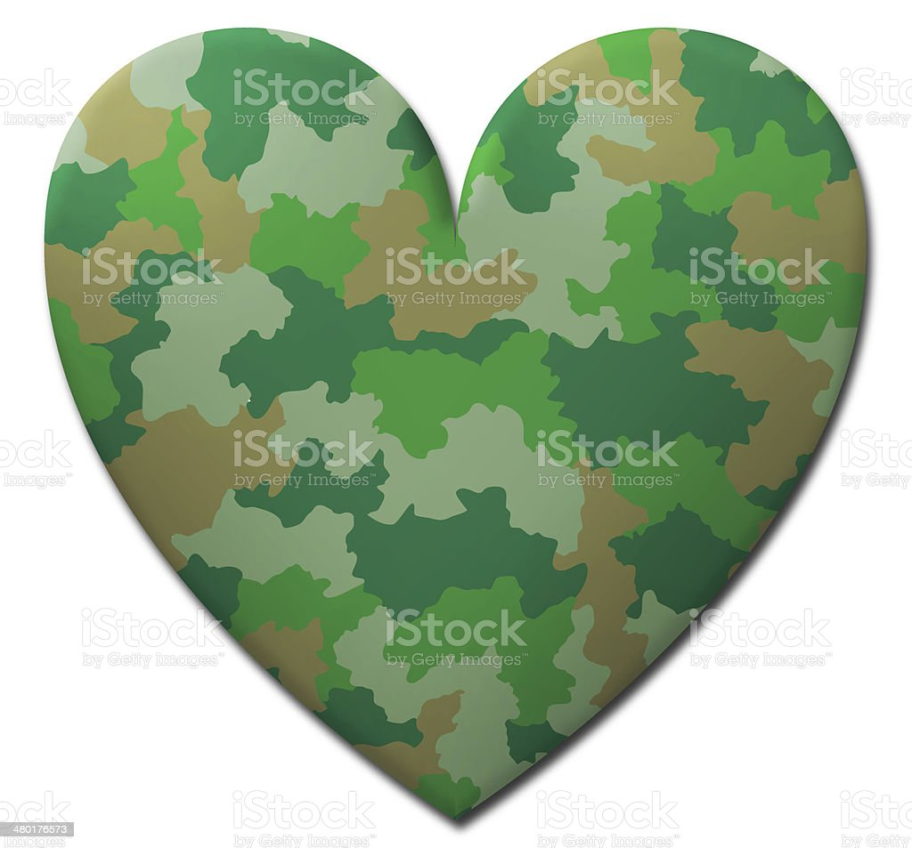 Green Camouflage Heart stock photo