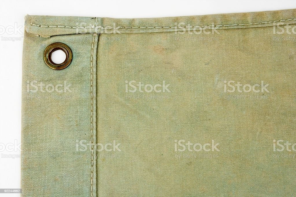 Green Canvas Sheet Corner With Eyelet stock photo