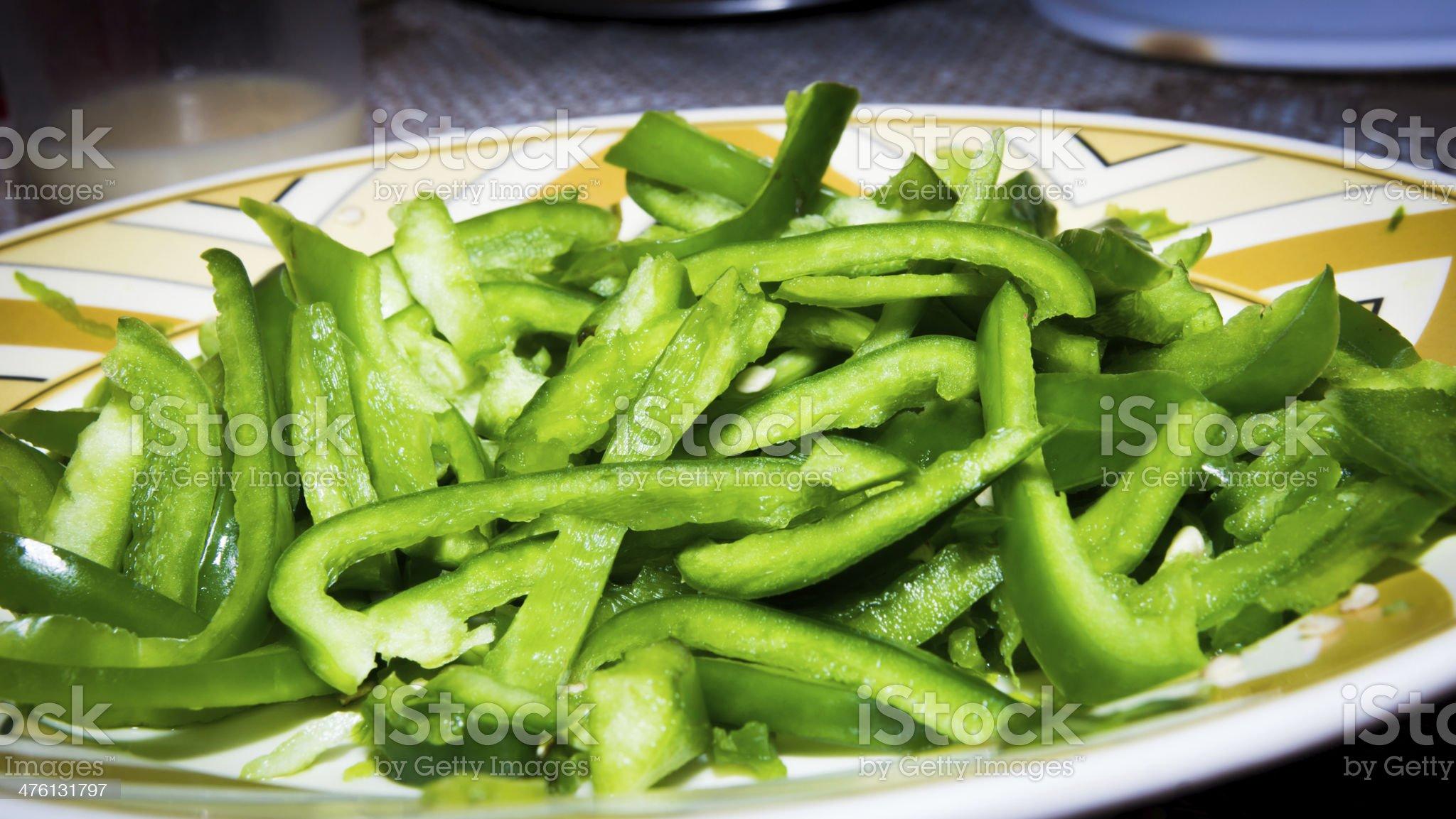 Green Capcicum choppped royalty-free stock photo