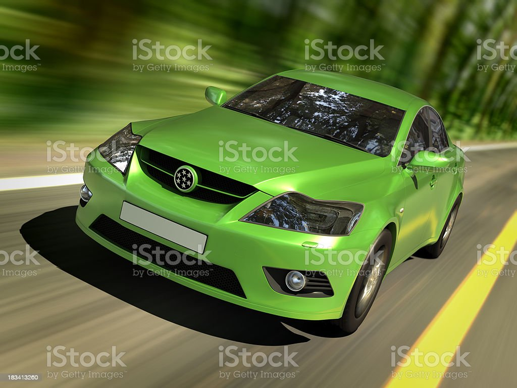 Green car in forest stock photo
