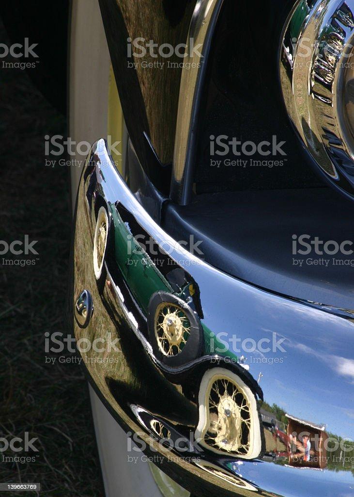 green car reflection stock photo