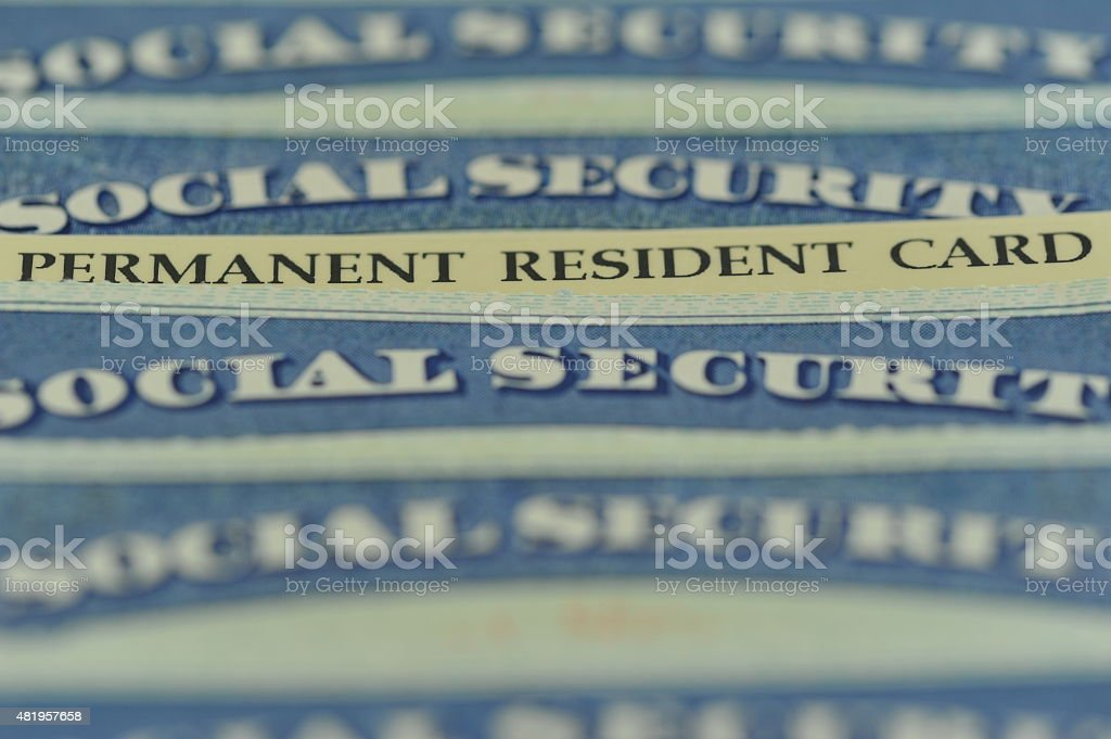 Green Card - American Permanent Resident Card stock photo