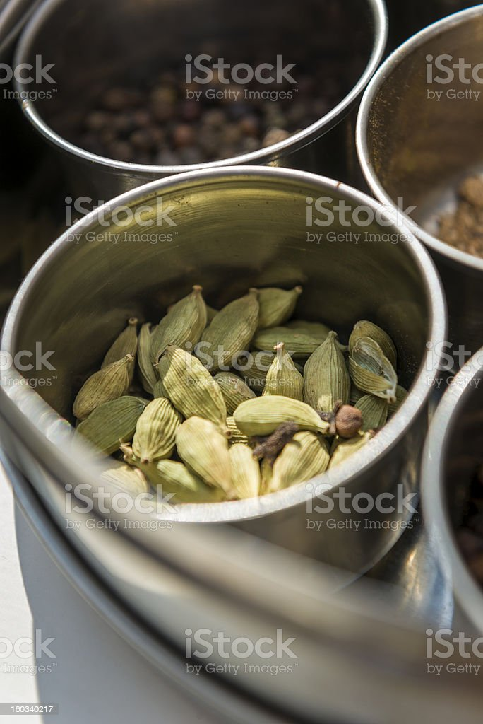 Green cardamom and other indian spices royalty-free stock photo