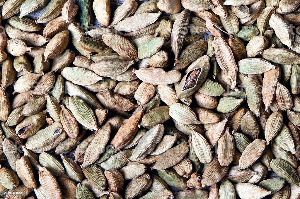 Green cardamom pods (or cardamon) stock photo