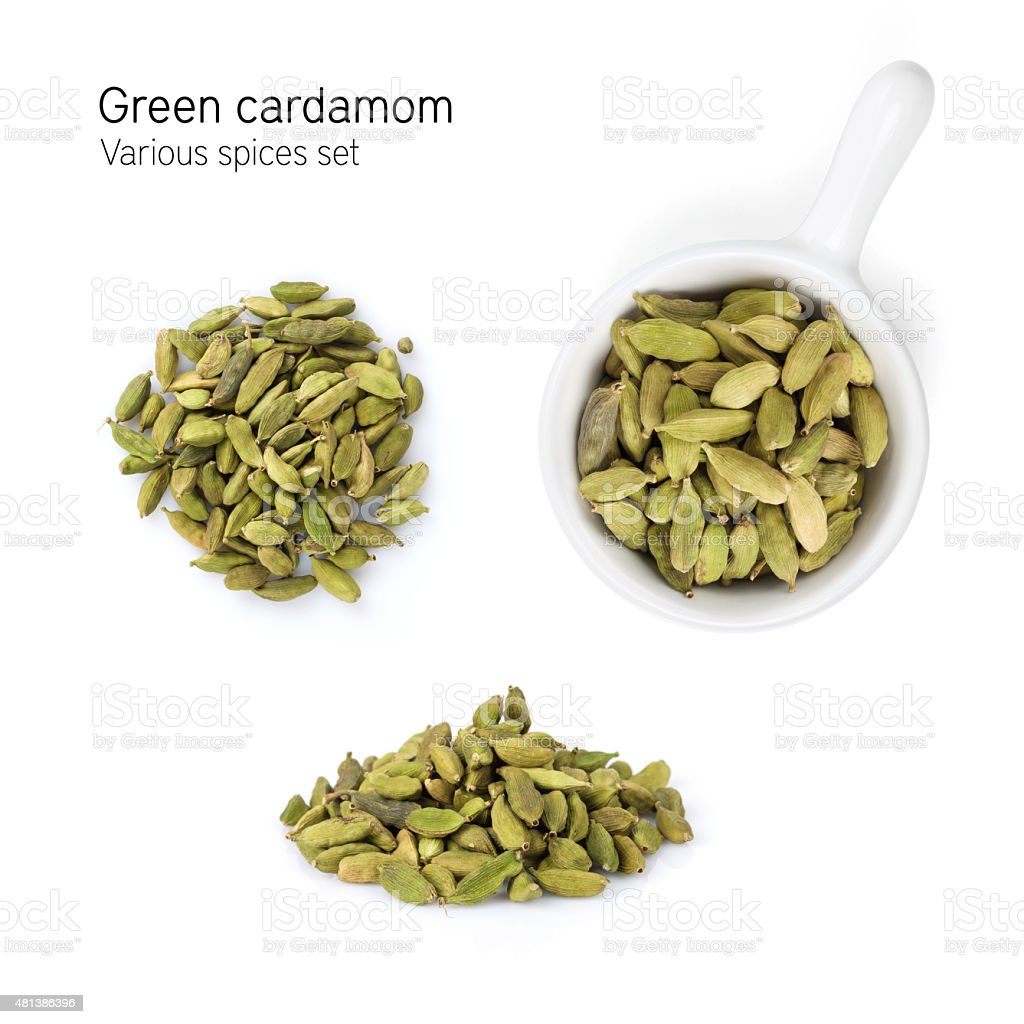 Green cardamom spice stock photo