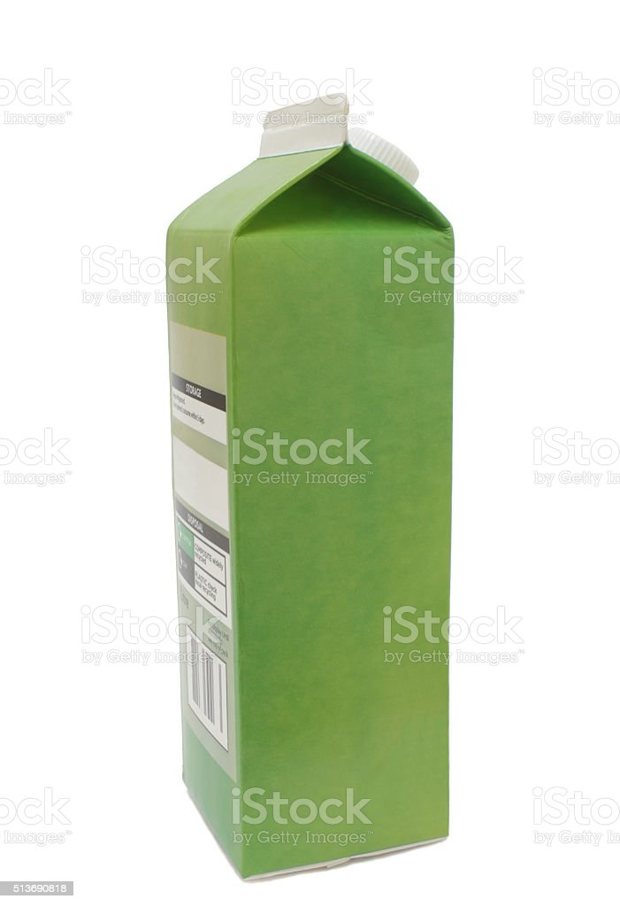 green cardboard apple juice drinks carton stock photo