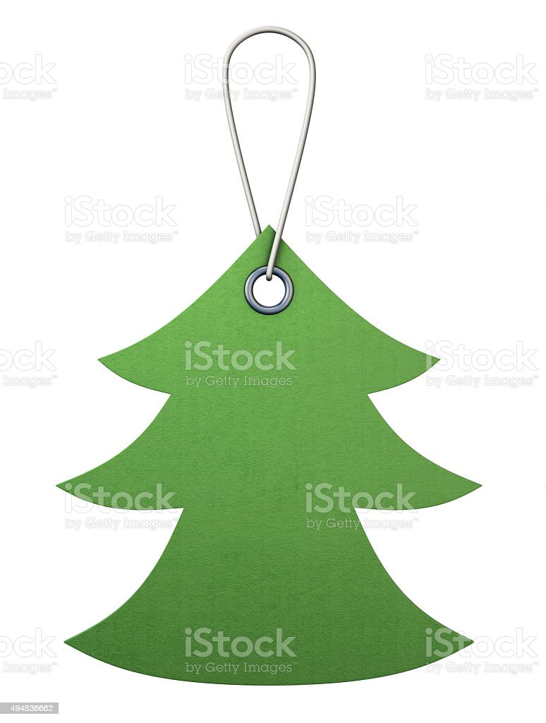 Green cardboard tag in the form of christmas tree. 3d. stock photo