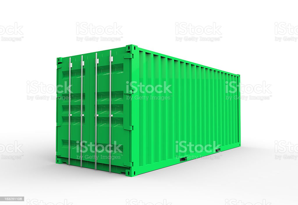 Green cargo container royalty-free stock photo