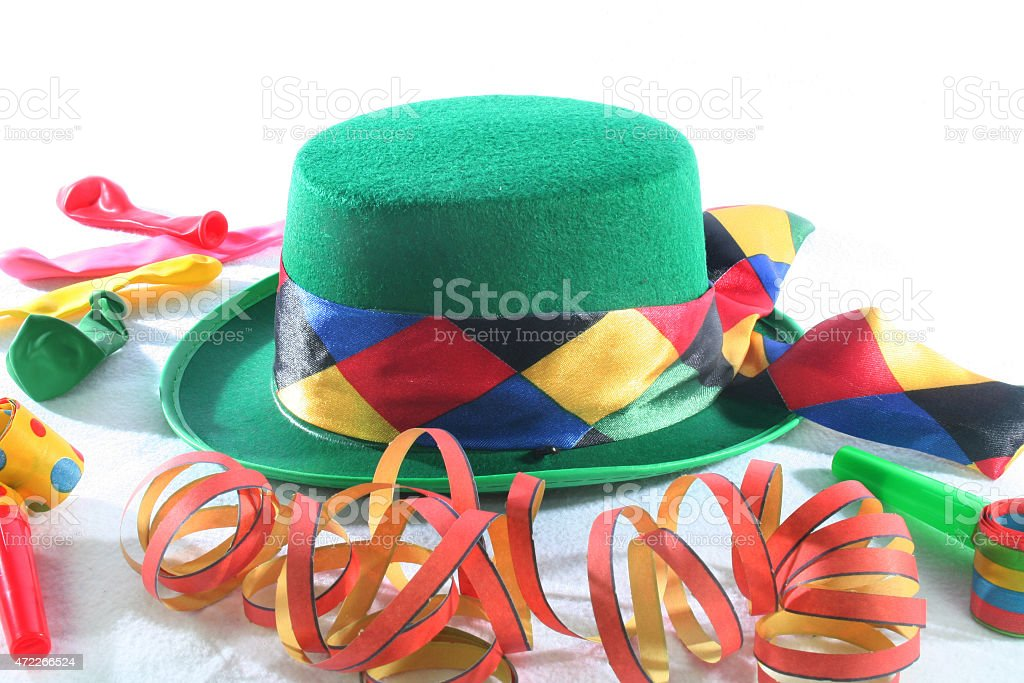 green Carnival hat stock photo