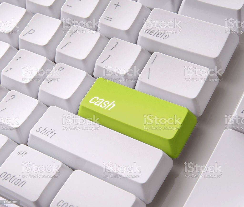 Green Cash key on a computer keyboard with clipping path royalty-free stock photo