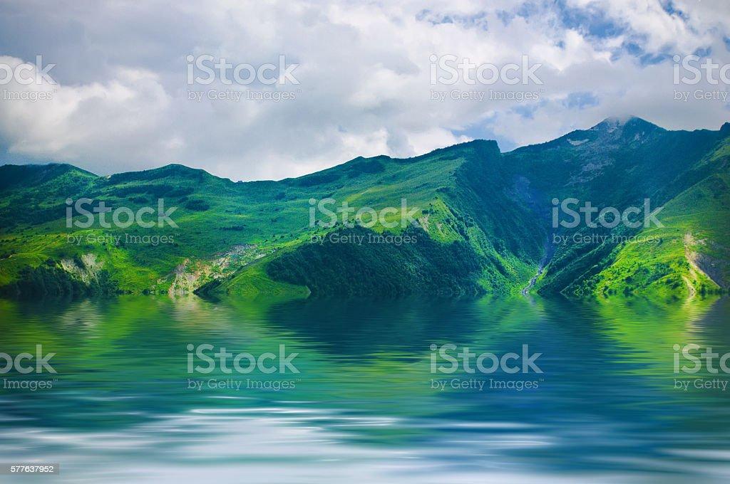 Green Caucasus mountains stock photo