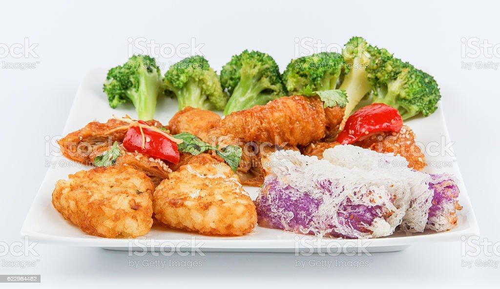 green cauliflower,Bean curd sheet,potato cake stock photo