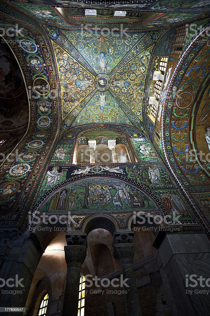 green Ceiling Mosaic in Basilica San Vitale, Ravenna stock photo