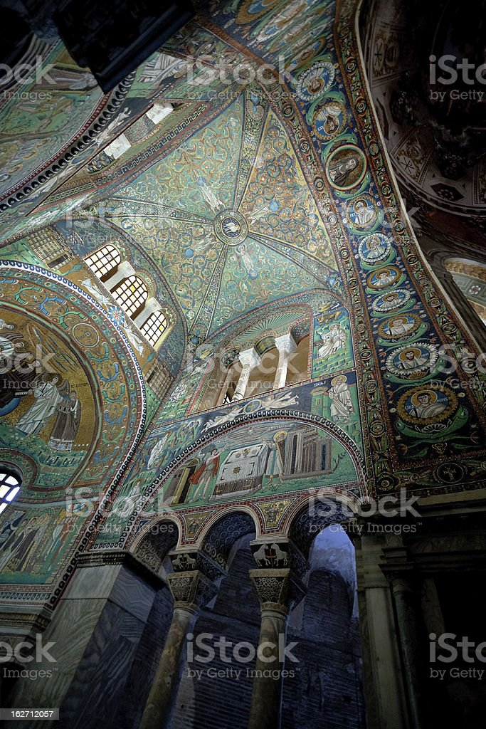 green Ceiling Mosaic of Basilica San Vitale in Ravenna stock photo