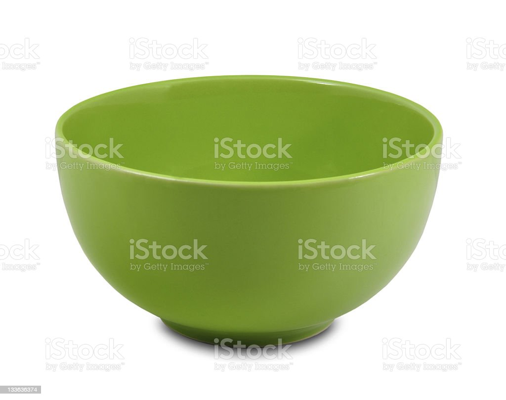 Green ceramic bowl on a white background stock photo