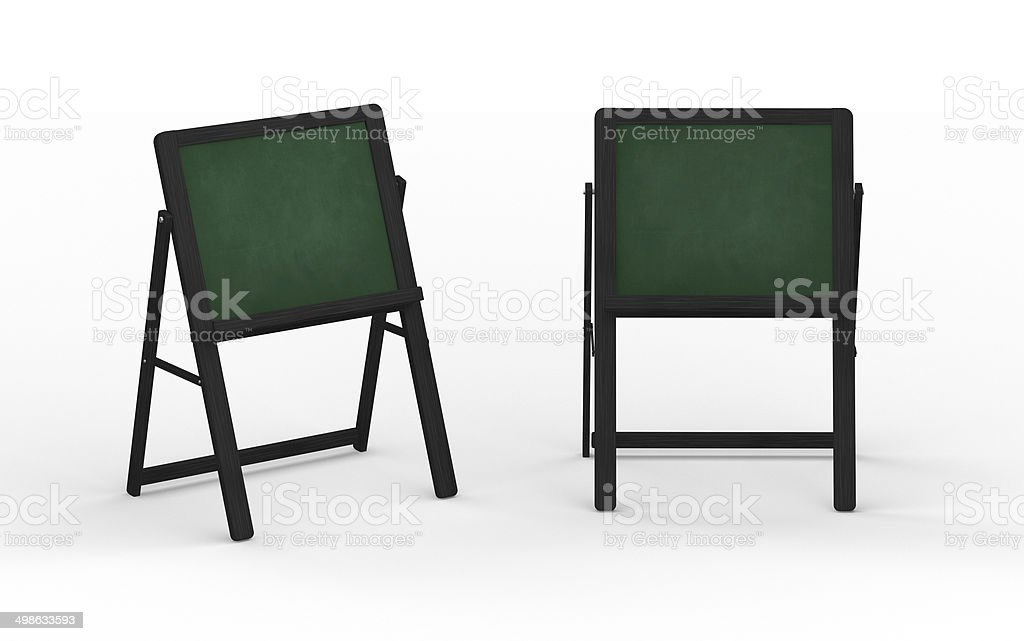 green chalkboard stand with black wooden frame, clipping path included vector art illustration