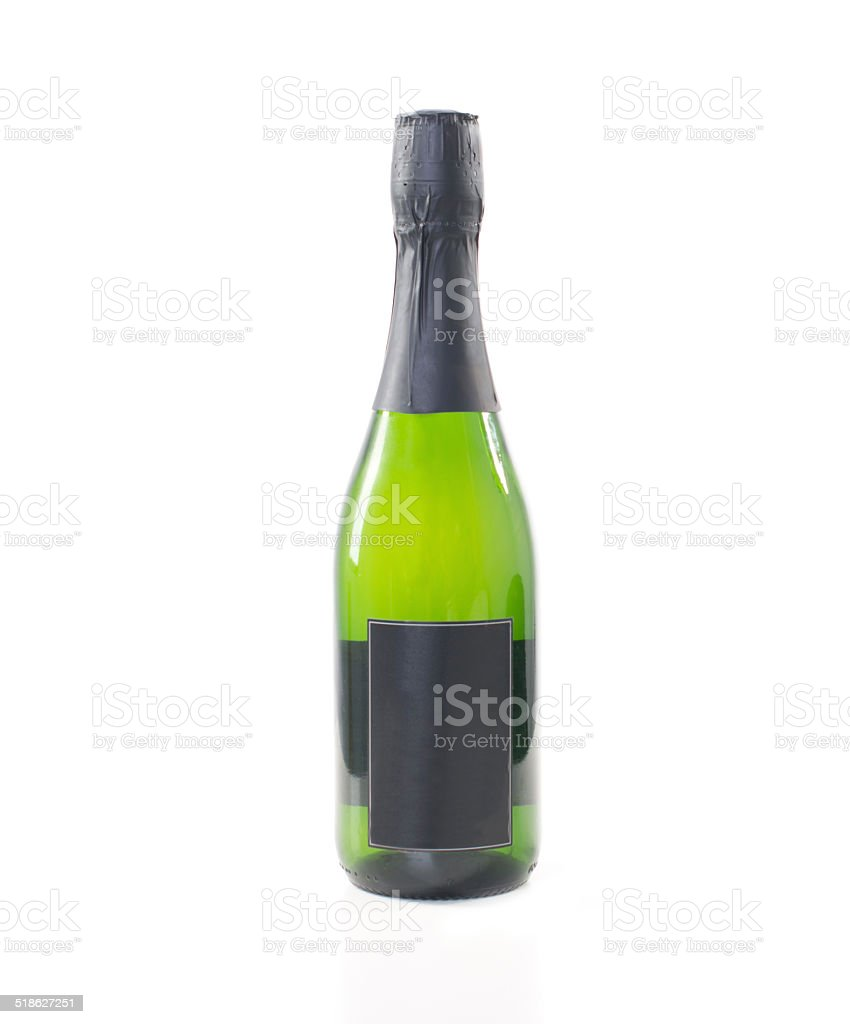 Green Champagne Bottle wwith Black Labels stock photo