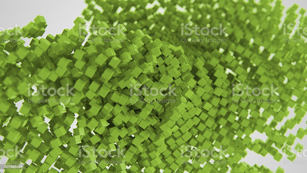 Green chaotic abstract cube background 3d Illustration stock photo