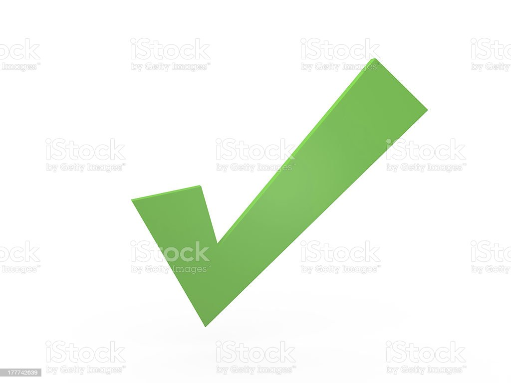 Green check mark against white background stock photo