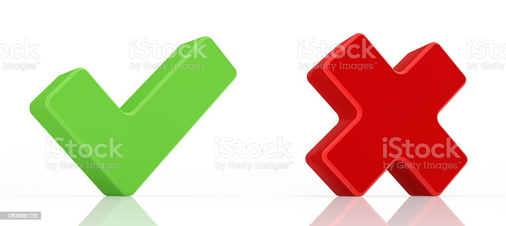 Green check mark and red x mark. stock photo
