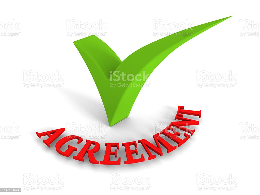 Green Checkmark Agreement Red Word on White Background stock photo