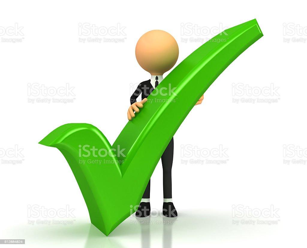green checkmark on white background stock photo