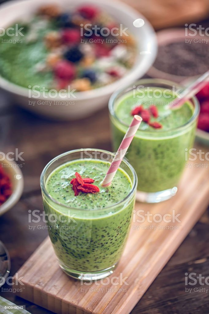 Green Chia Smoothie in Glsas stock photo