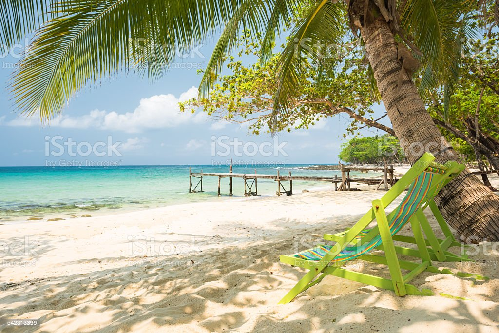 Green chiar with coconut palm tree at the exotic beach stock photo
