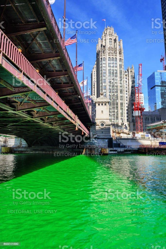 Green Chicago River, Bridge and Tribune Tower stock photo