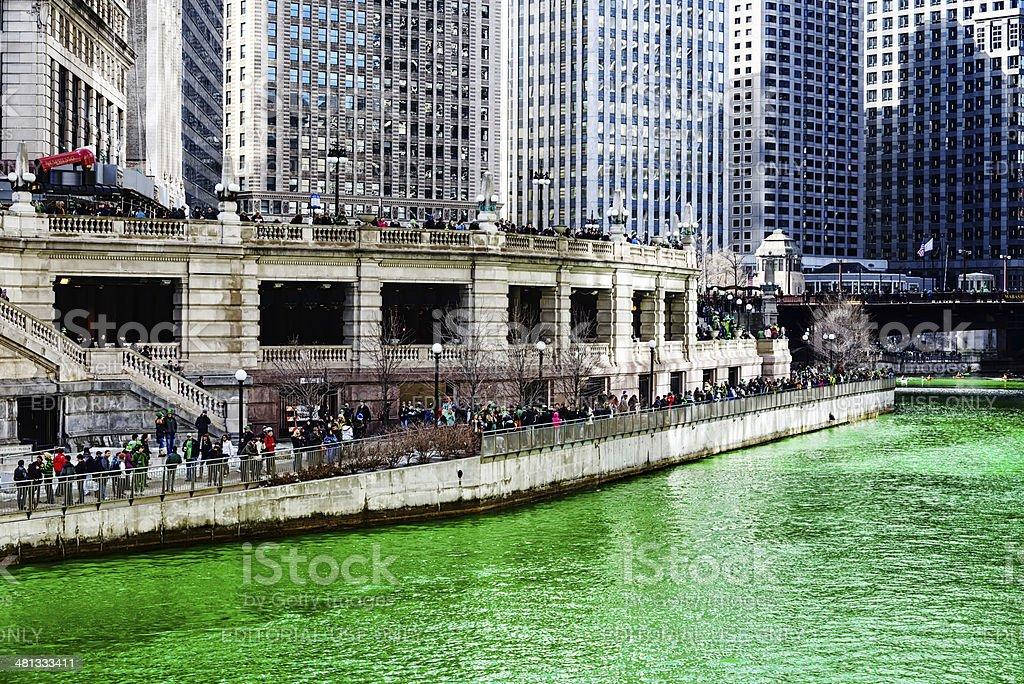 Green Chicago River, Saint Patricks Day stock photo