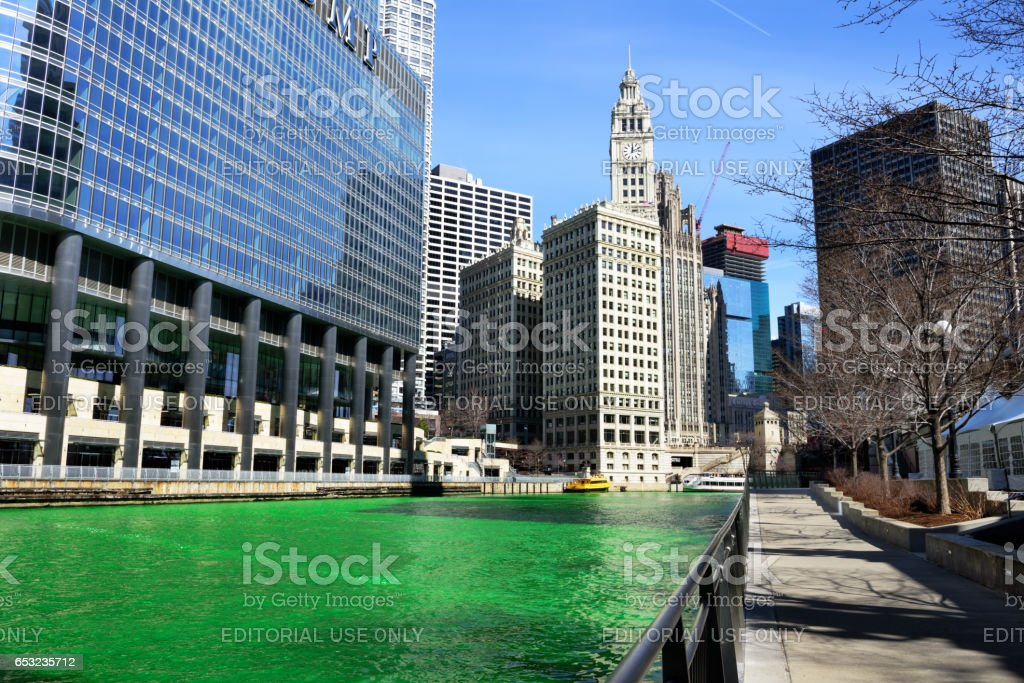 Green Chicago River, Trump Tower and Wrigley Building stock photo