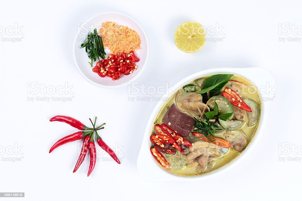 Green chicken curry  with side dish. stock photo